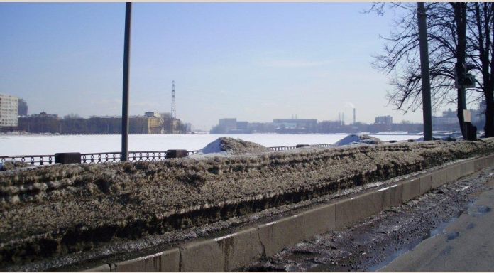 The River Neva is still solidly frozen