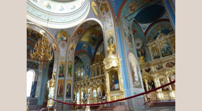 Inside the opulent Valaam cathedral